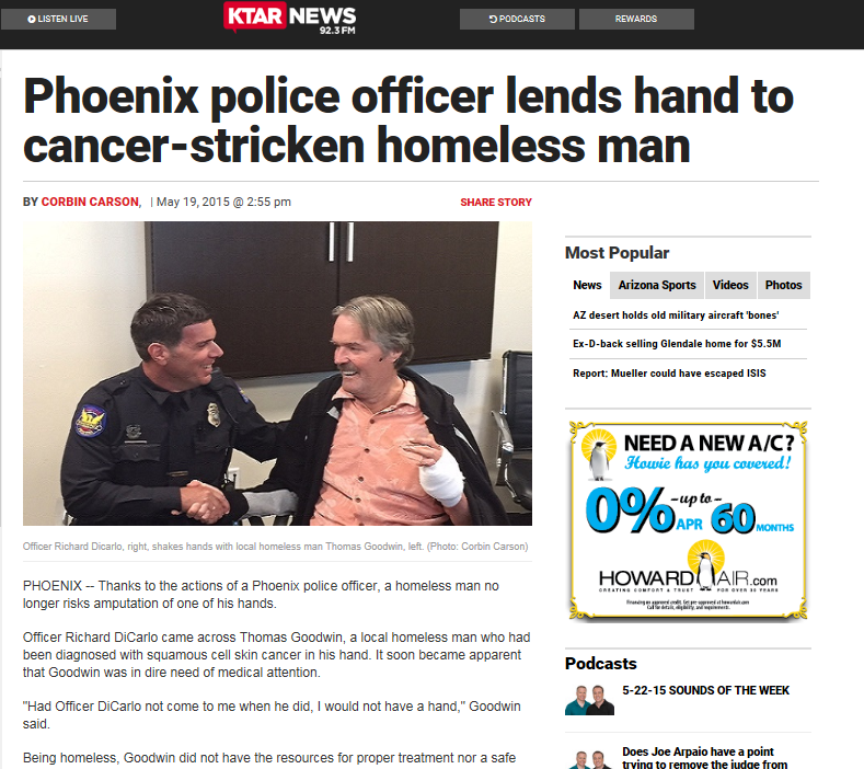Phx  Police officer lends hand to cancer stricken man  5-19